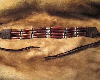 Horn Hairpipe Choker with Silver Beads, Dark Brown Deerskin Leather
