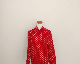 SALE Vintage 80s red polka dot blouse white kitten pussy bow tie long sleeve button down Lolita secretary small