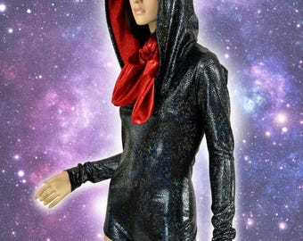 Black on Black Shattered Glass Holographic Chicken Hoodie Romper with Red Sparkly Jewel Lined Hood and Ascot Festival Costume - 155112