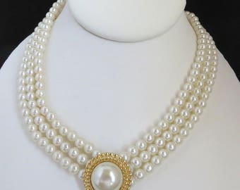 Faux Pearl Triple Strand Necklace, Vintage Bridal Jewelry, Perfect Gift, Gift Box