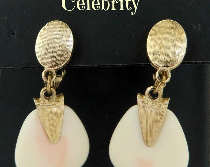 Celebrity Dangle Earrings, Vintage Cream Lucite Gold Tone Clip-on Earrings, Gift idea, Gift Box, FREE SHIPPING