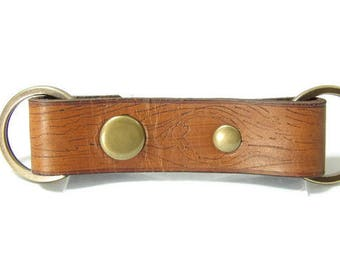 Tree Bark Chestnut Valet Double Ring Leather Key Chain Free USA Shipping and Gift Wrap
