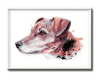 Dog printout, wall art, limited edition dog print. From an original ballpoint drawing.  Great gift dog lover.  Art print, dog, dogs.