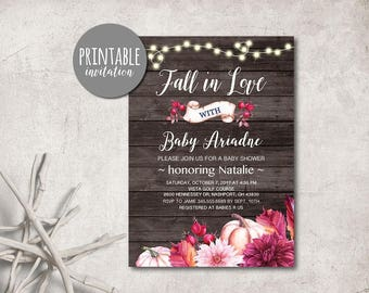 Fall in love Baby Shower Invitation Fall Baby Shower Invitation Printable, Rustic Baby shower Invitation Girl baby shower invitation Pumpkin