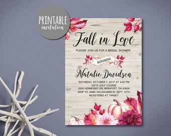 Fall Bridal Shower Invitation, Fall in love Bridal Shower Invitation Burgundy Floral Rustic Bridal shower invite Pumpkin Bridal Shower