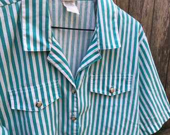 Teal and White Striped Button Up