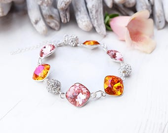 Swarovski crystal rose peach bracelet Sterling Silver jewellery Vintage pink bridal wedding crystal bracelet Square cushion cut crystal