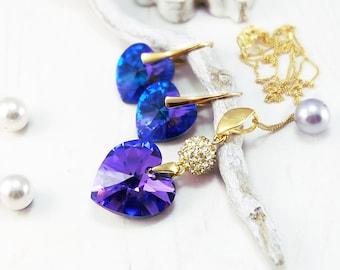 Swarovski Heart Earrings Pendant Set-Purple Heliotrope Earrings Necklace-Gold Plated Swarovski Earrings Necklace-Bridesmaid Wedding Earrings