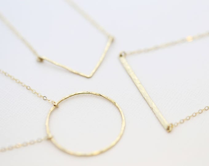 Geometric Hammered Necklace // Dainty Gold Open Circle / V Bar / Skinny Bar Necklace in Gold Filled