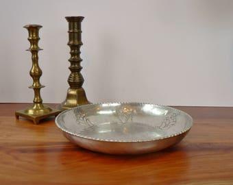 Vintage collectable Buenilum bowl, Mid Century hand forged aluminum fruit, Mid Century modern aluminum dish, key tray