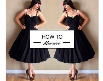 Directions on HOW TO MEASURE for your custom handmade dress by Hardley Dangerous Couture