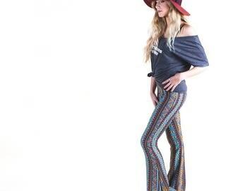 TRIBAL COZY SWEATER knit fall fashion flare leg gypsy hippie retro festival yoga fashion bell bottoms fold waist optional