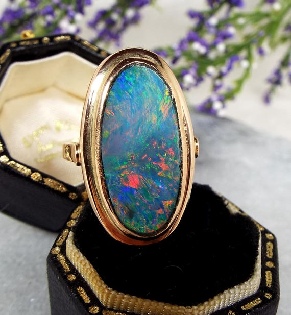 Vintage 14ct Gold Russian Huge Statement Rainbow Opal Doublet Ring / Size O 1/2