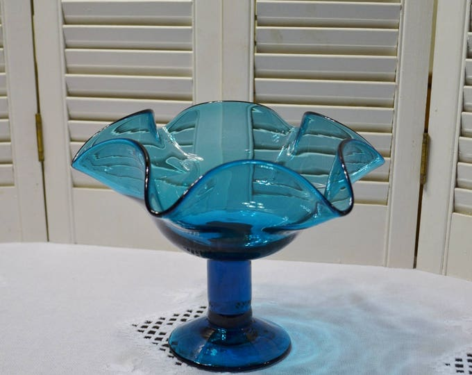 Vintage Aqua Blue Glass Pedestal Bowl Compote Candy Dish Hand Blown Art Glass PanchosPorch