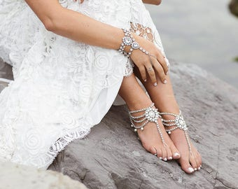 Amour Barefoot Sandals Bohemian Bride Shoeless Sandals Beach wedding Sandals Silver Foot Jewelry Boho Anklet Gypsy Wedding Rhinestone Anklet