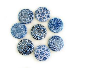 Blue Tile Print Refrigerator Magnets - Fridge Magnet Set - Gift for Mom - Blue and White Farmhouse or Cottage Decor for Kitchen or Office