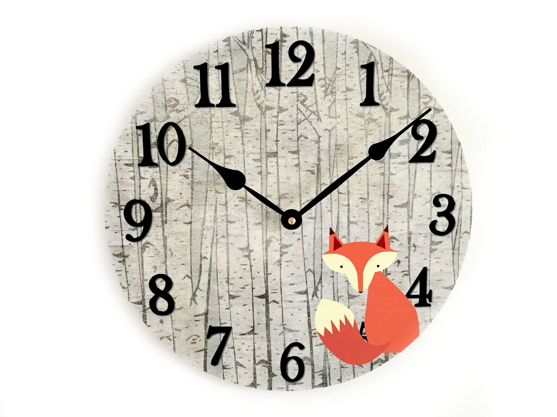 Fox Wall Clock Woodland Nursery Wall Decor Rustic Nursery