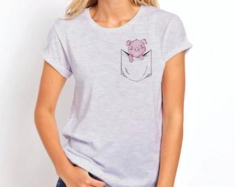 Pig Shirt | Womens Pocket shirt | Womens Pocket T Shirt | Pocket Tee Shirts | Piglet | Pocket Tee | Pocket T-Shirt | Womens Pocket Tee | Pig