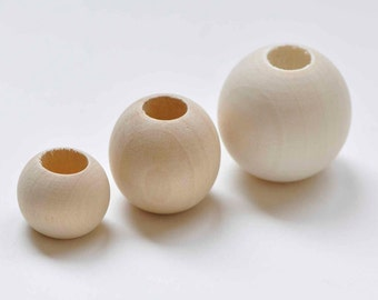 Large Hole Round Unfinished Wood Beads 20mm/25mm/30mm Set of 20
