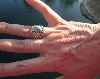 Ornate Turquoise and Sterling Silver Ring Size 7.5
