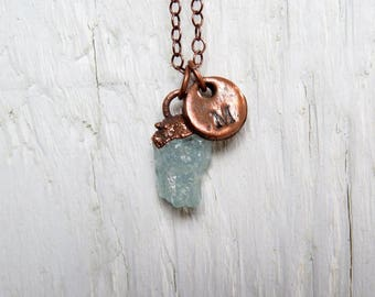 Aquamarine Necklace Pisces Birthstone March Jewelry Electroformed Crystal Intital Pendant Copper Necklace Personalized Jewelry Birthday Gift