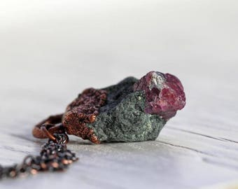 Ruby Necklace Electroformed Stone Mineral Speciman Dark Pink Ruby in Matrix Copper Raw Stone Pendant Stone Necklace