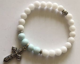White and pale blue mountain jade with cross charm