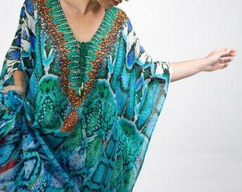 Kaftan dress, womens dress, beach kaftan, maxi dress, bohemian, boho chic, crystal embellished, gift for women, long dress, snake print.