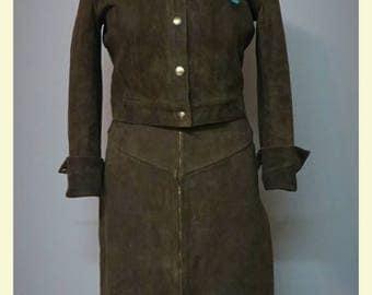 Vintage Western style dark brown suede suit  small/medium
