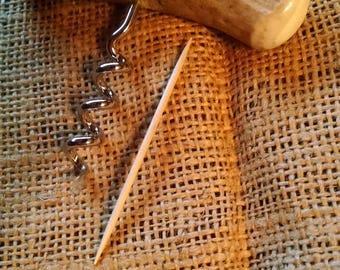 Cork Screw, wine opener with smooth, light brown Deer antler handle ..wine cork screw...bottle opener