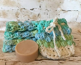 gift set, soap sock, handmade wash cloth, soap saver, gifts for her, bridal gift, soap accessories, crochet soap sock, bridal shower