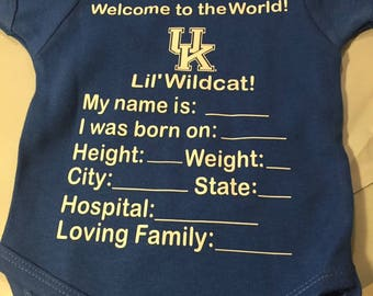 UK lil wildcat bodysuit | Birth Annoucement bodysuit | Welcome to the world