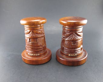 Carved Wooden Vintage Island Themed Salt and Pepper Shakers