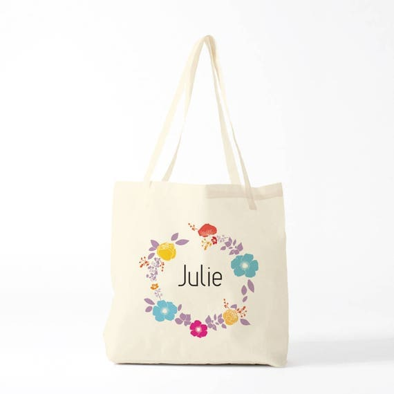 Custom bag, canvas bag, bag with name, custom gift, gift coworker, gift for baby.