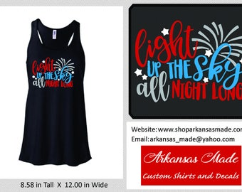 Light Up The Sky All Night Long Bella flowy racerback tank top, Independence Day tank top, summer tank, fireworks tank, 4th of July, to 2x