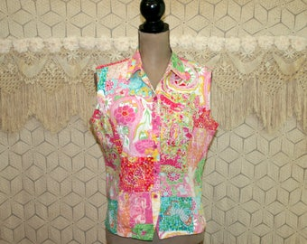 90s Womens Sleeveless Shirt Button Up Blouse Summer Top Cotton Colorful Tropical Print Key West Fabric Vintage Clothing Womens Clothing