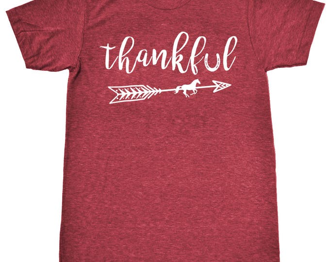 Featured listing image: Thankful Equestrian Boho Style T-Shirt - Long or Short Sleeve in Vintage Heather