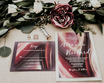5x7 Purple Burgundy Plum Geode Stone Natural Wedding Invitation with Lined Envelope and RSVP