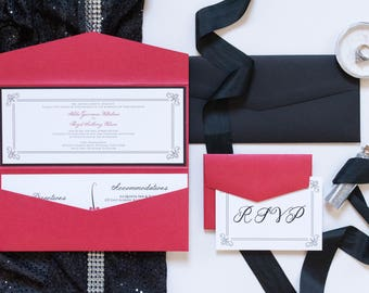 4x9 Odd Size Red and Black Pocket Wedding Invitation with Details and RSVP Inserts
