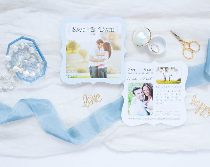 Light Blue and White Die Cut Save the Date Cards & Envelopes with Calendar