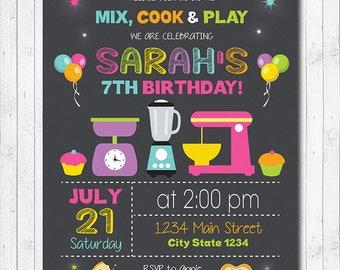 Mix and Cook Invitation, Chef Invitation, Chef Invite, Cooking Invitation, chalkboard, girls invitation, printable invite