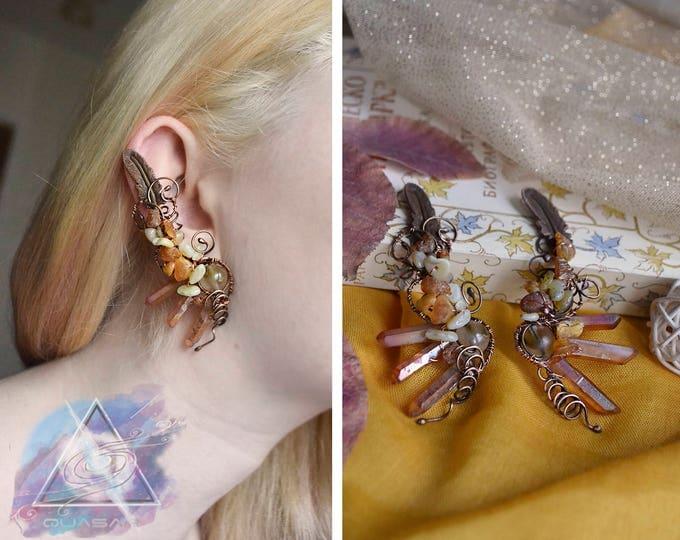"Ear cuffs ""Autumn sun"" | Wire ear cuff, crystals boho jewelry, elven ear cuffs, boho ear cuff, yellow crystals earrings, fairy ear cuffs"