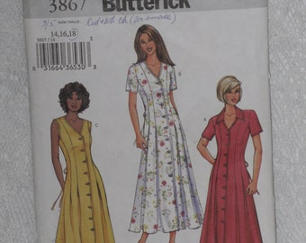 Butterick 3867 Pattern Misses' Fitted & Flared Dress Size 14 16 18