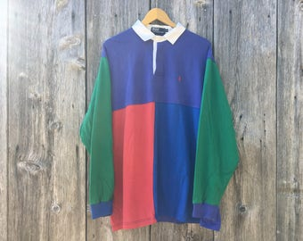 Polo Ralph Lauren 90s Block Color Rugby Long Sleeve XL Extra Large
