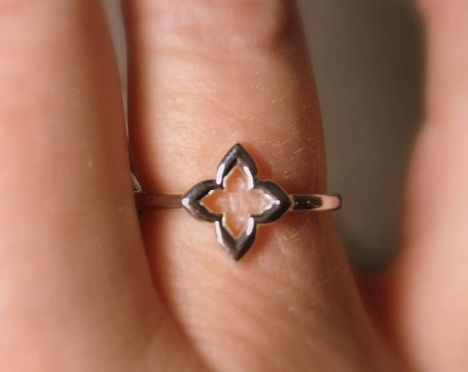 """Featured listing image: Clover Ring, """"Hope, Faith, Love, and Luck"""", Friendship, Promise Ring in Sterling Silver, Slim, Celtic Ring"""