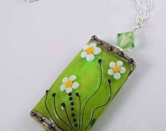 Lampwork Bead Pendant. Focal Bead Pendant. Floral Bead. Lampwork Bead. Lampwork Bead Necklace.