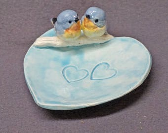 Ceramic Bird Dish, Ring Holder, Catch-All, Jewelry Dish, Blue Love Birds, Pink Flowers, Romantic, Wedding Gift, Valentine's day