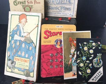 Large grouping of Vintage Sewing Notions~early to mid 1900s advert~Pins~Snaps~Knit~Needle books~antique collectibles ~ MilkweedVintageHome