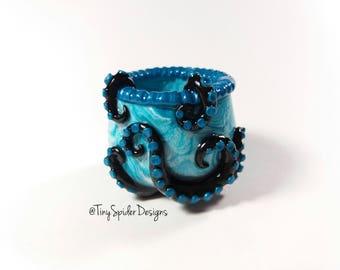 Mini Succulent Pot - Polymer Clay Blue and Black Octopus Flower Pot -OOAK