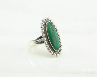 Bell Co. Malachite Sterling Silver Ring Southwest Green Fred Harvey Era